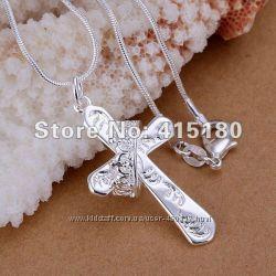 Крестик с короной серебро 925