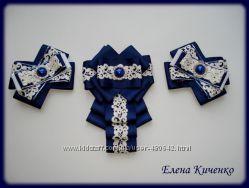 Нарядные  комплекты бантыи галстуки  ручной работы