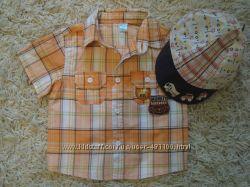 Рубашка с кепкой в комплекте 9-12мес 80см 44-46см