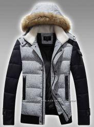 Куртка мужская  пуховик серый