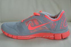 Кроссовки Nike free run 3  серо-коралловый