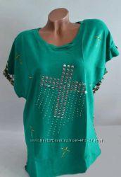 Зелёная женская футболка. р. 44-46
