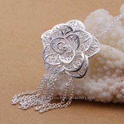 Женская подвеска Tiffany Роза, покрытие серебро 925, Тиффани, кулон, колье,