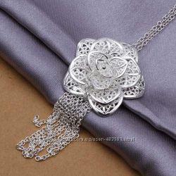 Женская подвеска Роза, покрытие серебро 925