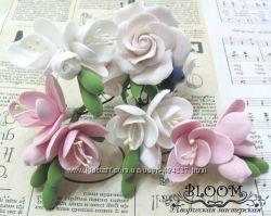 Шпилька для волос роза и фрезия