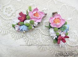 Зажимы для волос с цветами из глины Claycraft by Deco