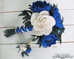 Букет ручной работы для невесты с бутоньеркой основной или букет-дублер