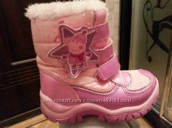 Детские зимние ботинки термо дутики 14, 5 по стельке Mothercare свинка Пеппа