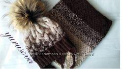 шапка и шарф на заказ