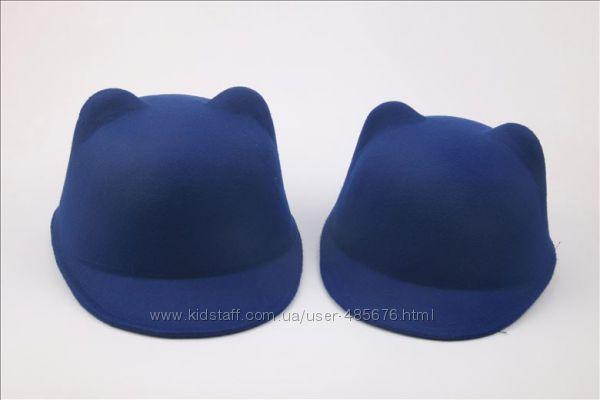 Шляпка синяя с ушками