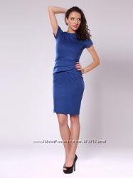 Платье синее REBECCA TATTI со стилизованной баской