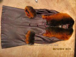 Плащ пальто с натуральным мехом