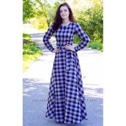 Женское макси платье в клеточку