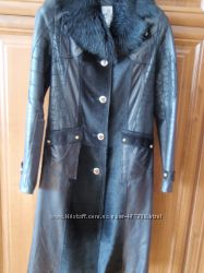 Кожанное итальянское  пальто   M