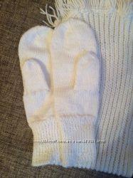 белые варежки , шарф