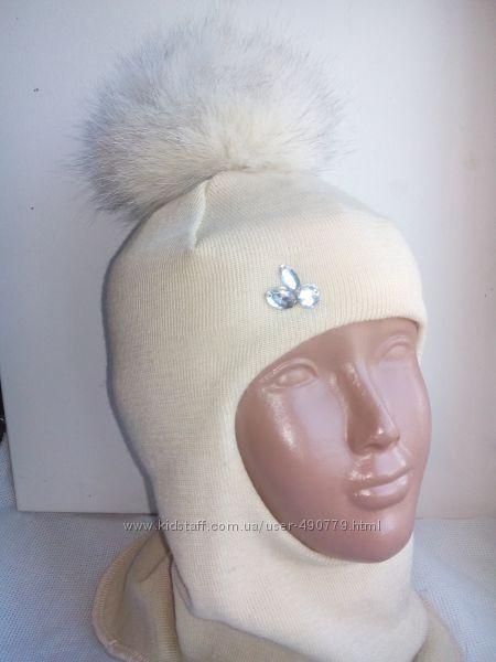 Шлемы шапки для девочек с меховыми папонами БИЗИ