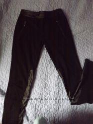 Шикарные лосины с кожаными вставками р. С