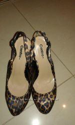 Туфли леопардовые с открытой пяточкой