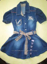 Джинсовое платье новое, на худышку 86-98