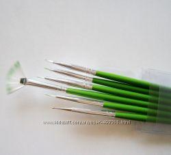 Кисти набор 6 шт  для нанесения рисунка на ногти