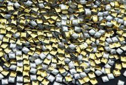 Украшения для ногтей под золото, квадрат,  в наличии