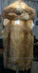 Жилет цельный из натурального меха лисы под заказ любой размер