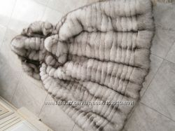 Жилет с капюшоном из натурального меха песца под заказ любой размер