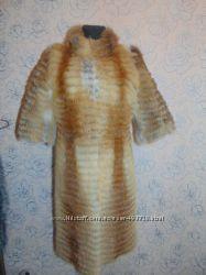 Шуба из натурального меха лисы в роспуск со стоечкой