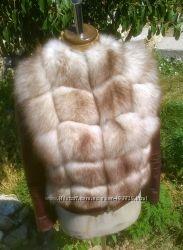Куртка кожанная комбинированная с замшей и мехом песца