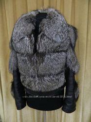 Шикарная куртка из натуральной кожи и натуральным мехом чернобурки