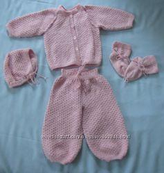 дешево новый вязаный теплый комплект для девочки розовый