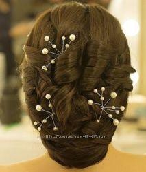 Свадебные заколки для волос с жемчугом 4шт.