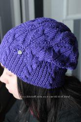 шапка чулок из хлопковой пряжи 54 -58р демисезонная