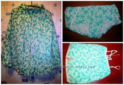 летний пляжный костюм с зелеными цветочками, размер 46-48