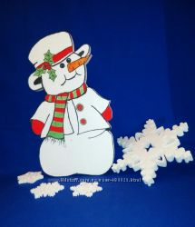 Снеговик из пенопласта, декор на Новый Год