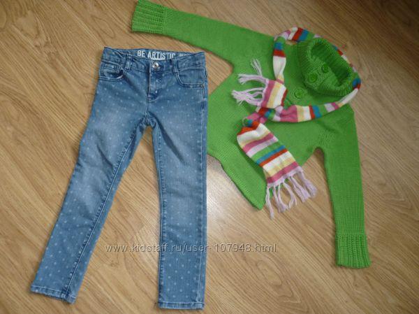 Много джинс, скинни, свитера, флиски все фирменное на девочку