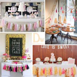 Декор для свадьбы-помпоны, гирлянды, свадебные палочки-махалочки
