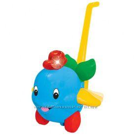 Игрушка-каталка - ДЕЛЬФИН (свет, звук, ассорти голубой, розовый)