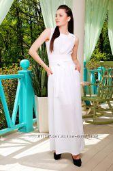 Легкое белое шифоновое платье в пол длинное