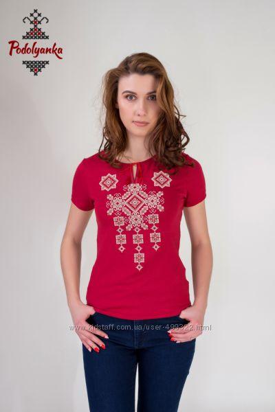 Жіноча вишиванка Писанка на бордовій тканині b80d93389787c