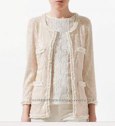 ZARA Оригинал твидовый пиджак в стиле Chanel в пайетках