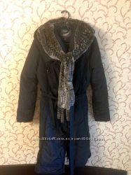 Пуховик пальто длинный с шиншиллой наполнитель пух