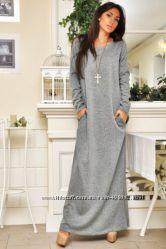 Теплые вязаные платья сарафаны макси