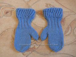 Теплые шерстяные рукавички на девочку. в наличии