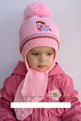 Тёплая шапочка с шарфом для девочек