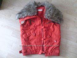 жилет безрукавка с мехом, красный, vero moda, бу