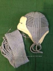 Шапка и шарфик на 3-4 л. натуральная овчина