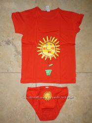 Новый набор белья, футболочка и трусики, L, хлопок 100