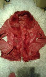 куртка с мехом лисынатуральная кожа и мех