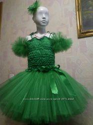 Зелёная фатиновая юбка-пачка ТУ-ТУ, топ, обруч  и нарукавники